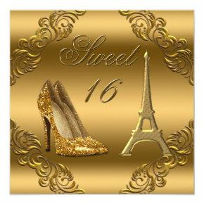 Glamorous Paris Gold Glitter High Heels Sweet 16 Invitation