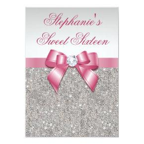 Glamorous Sweet 16 Faux Silver Sequins Pink Bow Invitation