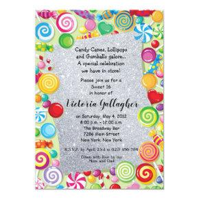 Glitter Candyland Theme Sweet 16 Invite