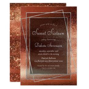 Glitzy Minimalism | Dusty Burnt Orange Sweet 16 Invitation