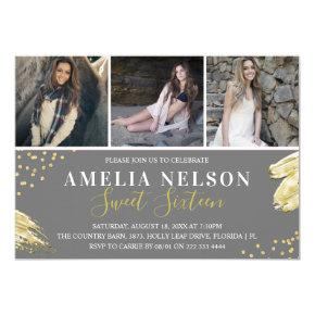 Gold Abstract Photo Collage Sweet 16 Birthday Invitation