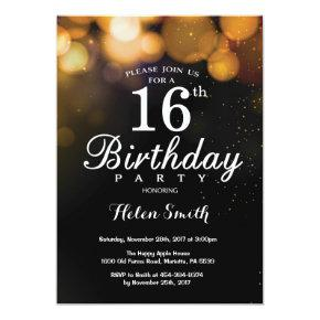 Gold Glitter 16th Birthday Invitation Card