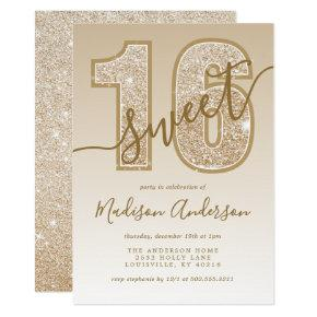Gold Glitter Script Sweet 16 Birthday Party Invitation