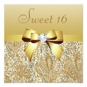 Gold Sequins, Bow & Diamond Sweet 16 Invitation