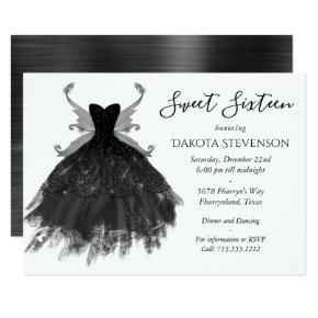 Goth Glamour Black Gown with Pixie Wings Sweet 16 Invitation