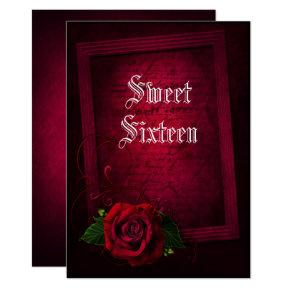 Gothic Framed Letter &  Red Rose Sweet 16 Invitation