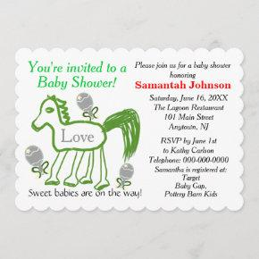 Green Horse Multiples Baby Shower Invitation
