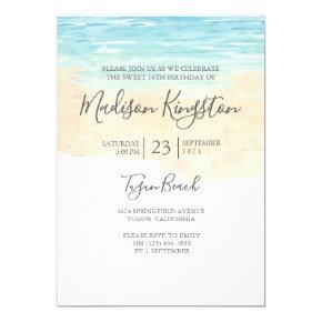 Hand Painted Watercolor Blue Beach Sweet 16 Invite
