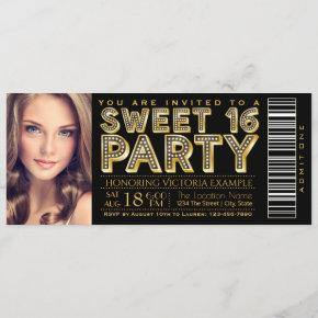 Hollywood Glam Sweet 16 Ticket Black and Gold Invitation