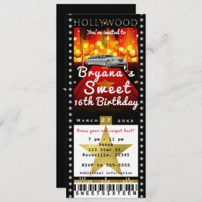 Hollywood Red Carpet VIP Party Ticket Invitation