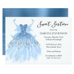 Ice Blue Diamond Pixie Wing Gown | Sweet 16 Party Invitation