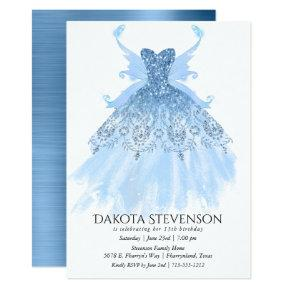 Ice Blue Diamond Sparkly Pixie Wing Gown | Party Invitation
