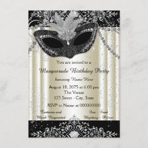 Ivory and Black Pearl Glitter Masquerade Party Invitation