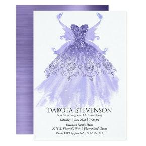 Lavender Purple Sparkling Pixie Wing Gown | Party Invitation
