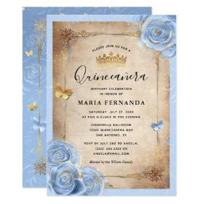 Light Baby Blue and Gold Rose Elegant Quinceanera Invitation