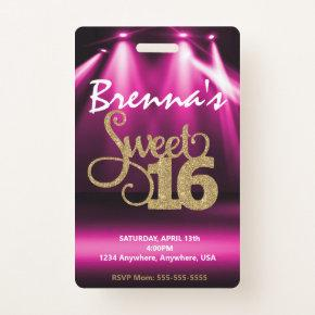Limo Pass Party Pass, VIP, Sweet 16 glitter Badge