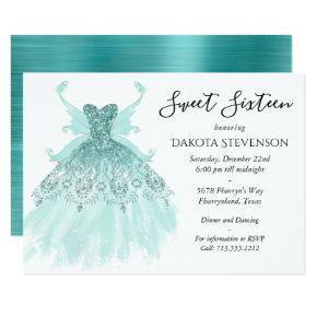 Luxe Turquoise Mint Fairy Wing Gown | Sweet 16 Invitation