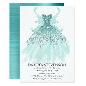 Luxe Turquoise Sparkling Fairy Wing Gown | Party Invitation