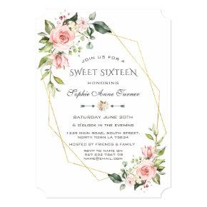 Luxury Pink Blush Floral Gold Frame Sweet Sixteen Invitation