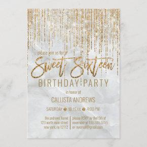 Luxury White Gold Glitter Pearl Marble Sweet 16 Invitation