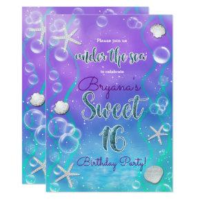 Magical Under The Sea Sweet 16 16th Birthday Party Invitation