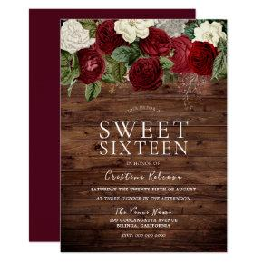 Marsala Burgundy Rustic Red Rose Sweet 16 Party Invitation