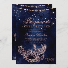Masquerade mask rose gold glitter sparkle Sweet 16 Invitation