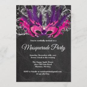 Masquerade Party Magical Night Pink Purple Silver Invitation