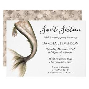 Mermaid Posh Sweet Sixteen | Champagne Gold Taupe Invitation