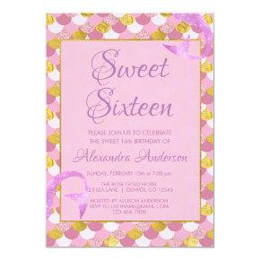 Mermaid Purple, Pink and Gold Sweet 16 Birthday Invitation