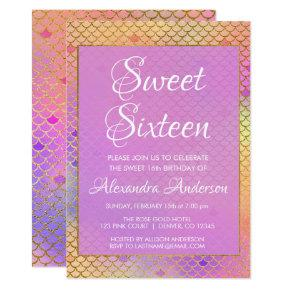 Mermaid Purple, Pink and Yellow Sweet 16 Birthday Invitation