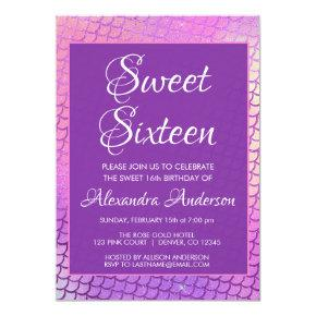 Mermaid Purple Scales & Sparkle Sweet 16 Birthday Invitation
