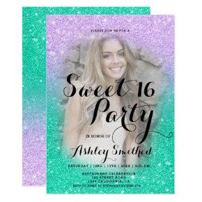 Mermaid purple teal glitter ombre photo Sweet 16 Invitation