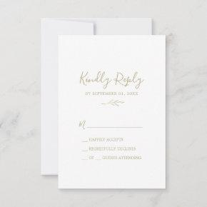 Minimal Leaf | Gold Simple RSVP Card