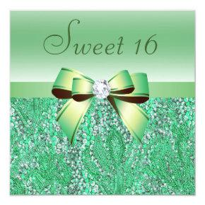 Mint Green Sequins, Bow & Diamond Sweet 16 Invitation