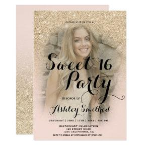 Modern champagne glitter ombre photo Sweet 16 Invitation