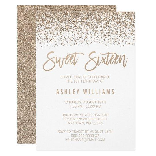 Modern Faux Champagne Glitter Sweet 16 Birthday Card