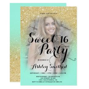Modern faux gold glitter ombre mint photo Sweet 16 Invitation