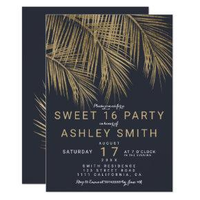 Modern faux gold palm tree navy blue Sweet 16 Invitation