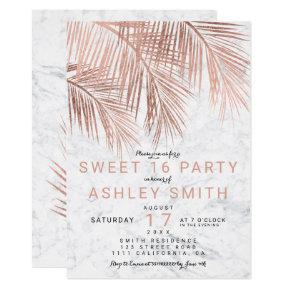 Modern faux rose gold palm tree marble Sweet 16 Invitation