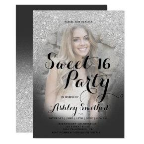 Modern faux silver glitter ombre photo Sweet 16 Invitation