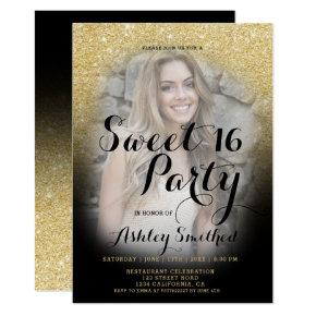 Modern gold glitter black ombre photo Sweet 16 Invitation