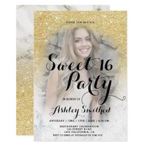 Modern gold glitter marble ombre photo Sweet 16 Invitation