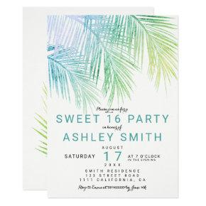 Modern green turquoise palm tree chic Sweet 16 Invitation