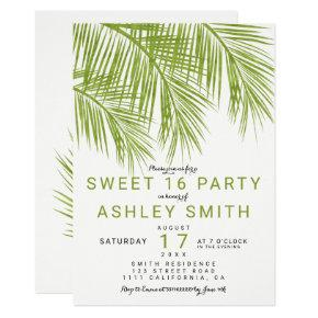 Modern greenery palm tree elegant Sweet 16 Invitation