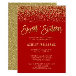Modern Red Faux Gold Glitter Sweet 16 Invitation