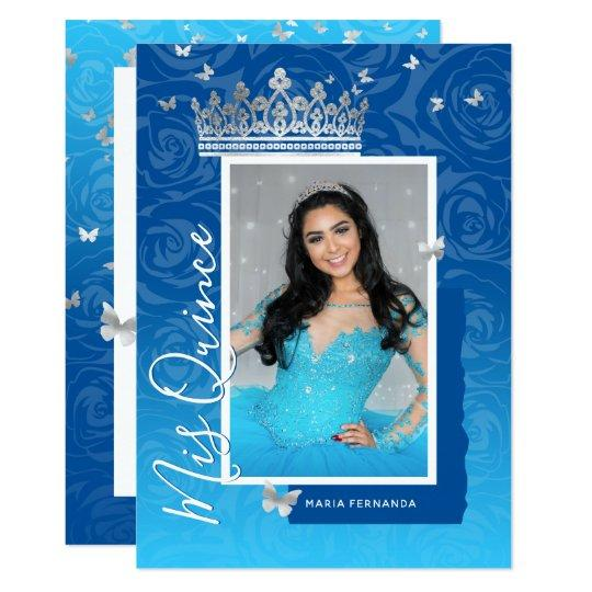 Modern Royal Blue Elegant Floral Photo Quinceanera Invitation