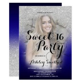 Modern silver glitter ombre blue photo Sweet 16 Invitation