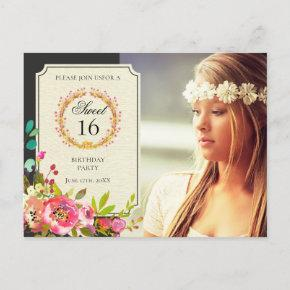 Modern Sweet Sixteen Birthday Flower Invitation