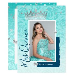 Modern Teal Blue Silver Elegant Photo Quinceanera Invitation